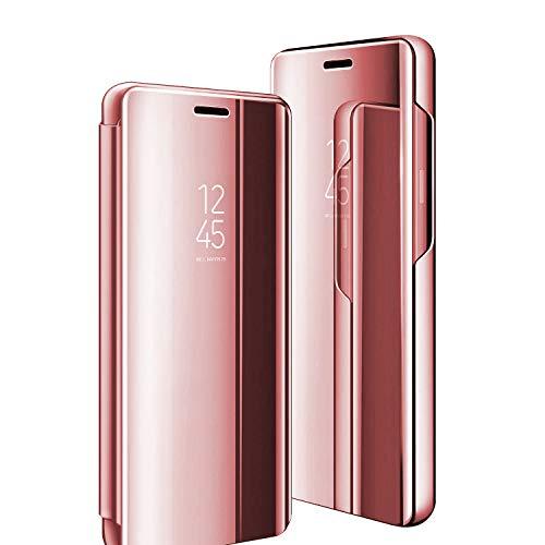 Clear View Standing Cover für das Samsung Galaxy A90 5G hülle, Spiegel Handyhülle Schutzhülle Flip Hülle Schutz Tasche mit Standfunktion 360 Grad hülle für Samsung Galaxy A90 5g (Roségold)