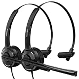 Mpow (2 Pack) Single-Sided USB Headset with Microphone, Over-The-Head Computer Headphone for PC, 270 Degree Boom Mic for Right/Left Ear, Comfort-fit Call Center Headsets with in-Cord Volume Control