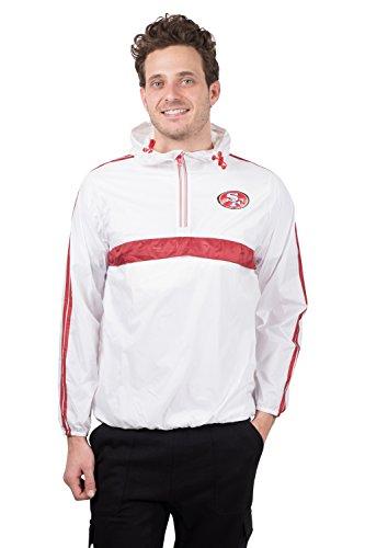 Ultra Game NFL San Francisco 49ers Mens Quarter Zip Pullover Hoodie Packable Windbreaker Jacket, White, Large