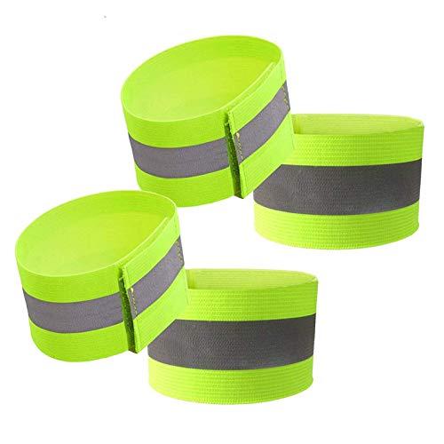 PowerTiger Reflektorband 4 Stück, Reflektierende Armband Verstellbar & Elastic Sicherheit Reflexband für Outdoor Joggen Radfahren Wandern, 35 x 4 cm