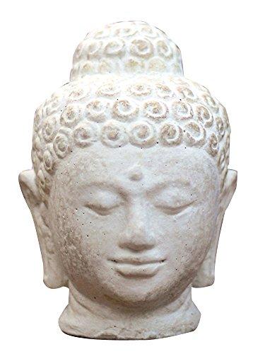 Buddha Kopf aus Steinguss in weiss, 25 cm hoch - Skulptur aus Steinguss für den Innenraum