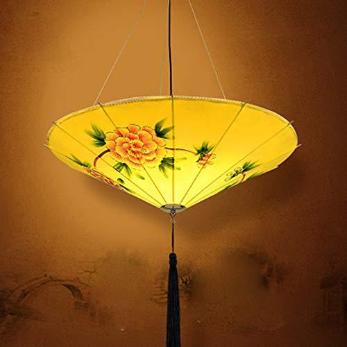 HIGHKAS Regenschirm Lampen Handbemalt, Retro-Stil Stoff Pendelleuchte Restaurant Teehaus Kronleuchter, Vintage Kronleuchter Laternenlampen Antike Klassische Stoff Regenschirm Licht