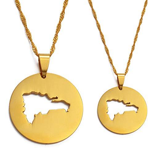 Collares Mapa de la república checa collares pendientes para mujeres hombres joyería Mapa de color dorado de Dominica regalos patrióticos-3cm pendant_60cm Cadena fina