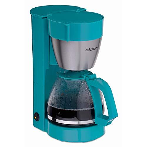 Cloer 5017-3 Filterkaffee-Automat mit Warmhaltefunktion, 800 W, Glaskanne für bis zu 10 Tassen, Filtergröße 1x4, türkis, Edelstahl, Kunststoff