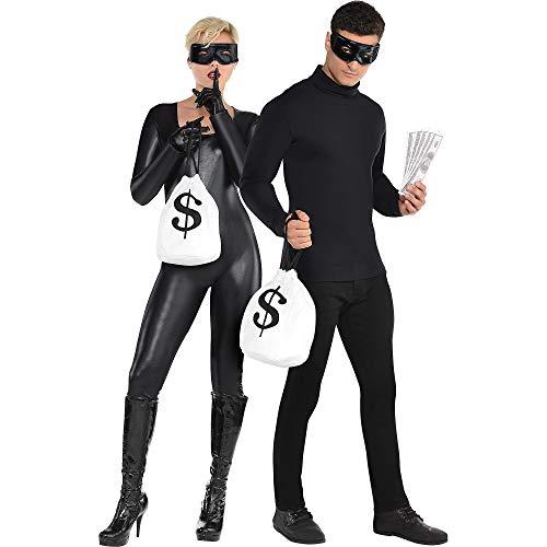 amscan-Juego de disfraz de ladrones negros, 4 unidades, una talla para casi todos los adultos (848468)