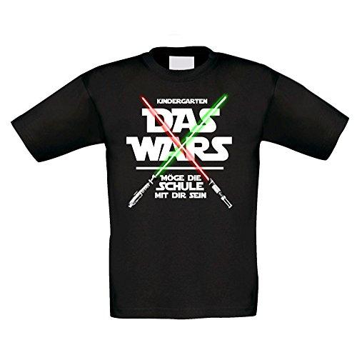 Shirt Department - Kinder T-Shirt - Kindergarten - Das Wars - Möge die Schule mit Mir Sein schwarz-Weiss 122-128