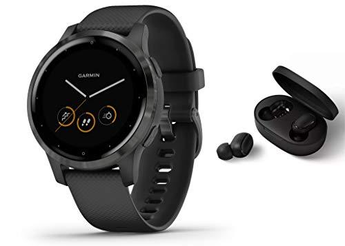 Garmin Vivoactive 4S schlanke, wasserdichte GPS-Fitness-Smartwatch mit Trainingsplänen & animierten Übungen, Schwarz/Black + BT Headset