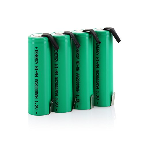 Combo: 4 pcs Tenergy 2000mAh NiMH Rechargeable AA Battery Flat Top with Tabs for Shavers, Trimmers, Razors, and More