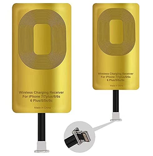 QI Receiver for iPhone 7/7 Plus/6/6 Plus/6s/6s Plus/5/5s/5c Ultra-Slim 5w 1000mAh Wireless Charging Receiver Adapter Compatible All Wireless Chargers (2pcs)