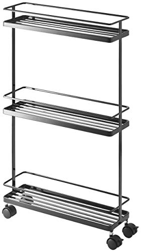 Yamazaki Home Tower Rolling Kitchen Storage Cart – Portable Organizer Shelves