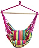 Hanging Hammock Chair, Hanging Swing Chair with Two Cushions, 34 Inch Wide Seat Blue & Green Stripes (Multicolor 3,100x100x130CM)