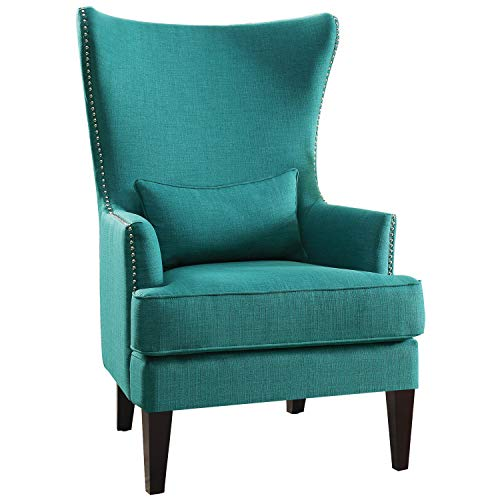 """Lexicon Leighton Fabric Upholstered Wingback Accent Chair with Pillow, 30.5"""" W, Teal"""
