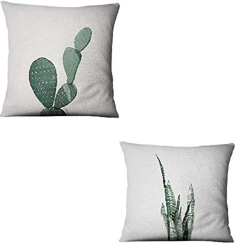 Hugyou Funda de almohada de estilo moderno con diseño de cactus simple y reposacabezas para sofá