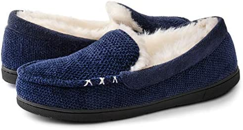 RockDove Women s Chenille Faux Fur Lined Moc Slipper Size 10 US Women Royal Blue product image