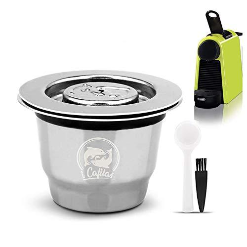 Cápsulas reutilizáveis de aço inoxidável i Cafilas, cápsulas de café de crema, recarregáveis, cápsulas de café com tampas reutilizáveis compatíveis com máquinas Nespresso