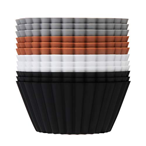 SARTNP Silicone Cupcake Baking Cups 12 Pack,Reusable Jumbo Size Heavy Duty Cupcake Liners Muffins Cups, with Storage Bag,Non-stick Easy to Clean Silicone Baking Cups,4 Designer Colors