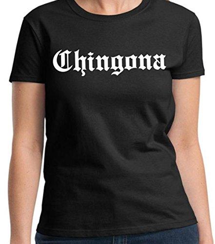 Chamuco Customs Chingona Funny Mexican Chicana Spanish T-Shirt (Large) Black