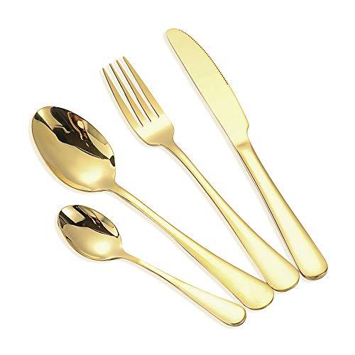 Dragonface 4pcs Acero Inoxidable Cubiertos de Colores Arco Iris Conjuntos de Forks Cuchara de Cocina Vajillas (Oro)