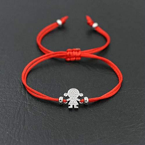 weichuang Pulsera de hilo de cuerda roja con circonita de color plateado brillante, para mujeres y hombres, ideal como regalo para parejas, joyería para mujeres (color de metal: niña roja y plata)