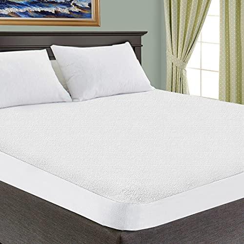 SUPERIOR Queen Waterproof Mattress Protector 100% Cotton,Hypoallergenic Protection