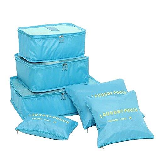 NOVAGO Set di 6 Organizzatori per valigie di dimensioni diverse, modelli colorati e stampe (Cielo blu)