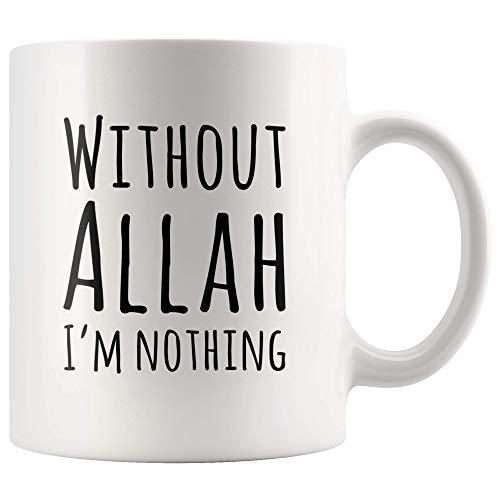 Islamitische mok zonder Allah bin ich nichts Islamitische koffiemok voor mulimische keramiek nieuwigheid kop wit hoogglans + premium witte afwerking, vaatwasser- en magnetronbestendig.