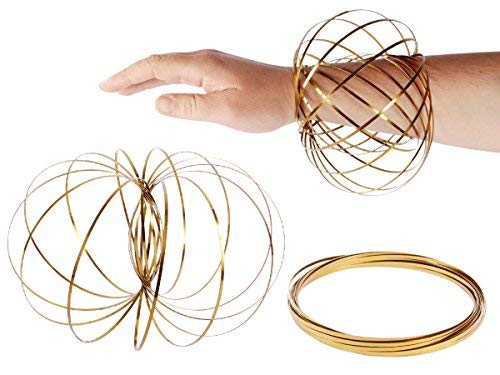 SHATCHI 11778 Magic Flow Ring Gold 3D Stainless Steel Toys Funny Kinetic Spring Infinity Arm Slinky Juggle Dance