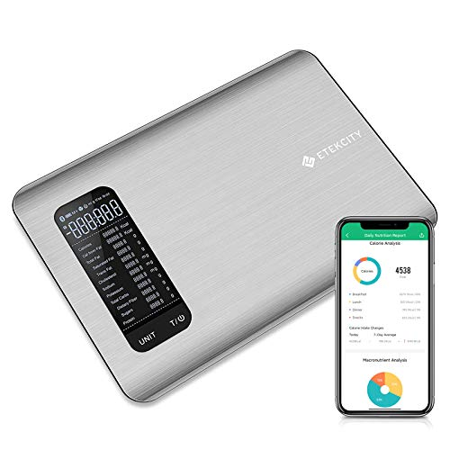 Etekcity Smart Food Nutrition Scale, Digital Grams and Oz for Cooking, Baking, and Weight Loss, Christmas Gift for Holiday Meal Prep, Large, Stainless Steel