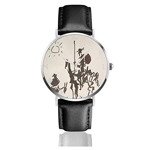 Armbanduhr Analog Quarz Ultra Dünn Business PU Leder Armband Uhren Picasso Don Quixote