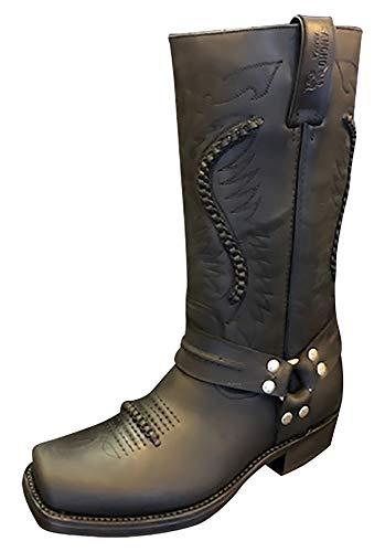 Sancho Boots Cowboydtiefel Westernstiefel Motorradstiefel Biker Stiefel 5859 Schwarz bereits besohlt (Numeric_43)