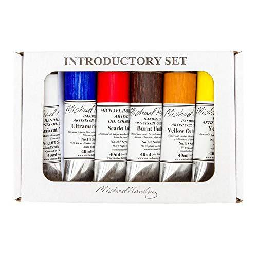 Michael Harding's Artist Oli Colours, Introductory Oil Paint Set, Six 40ml Tubes, 00640
