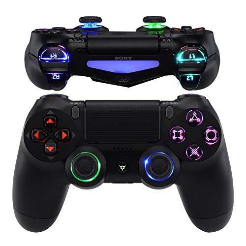 eXtremeRate Multicolores LED Botones para Mando de PS4 Botón de D-Pad L1 R1 R2 L2 Joysticks Home Face Teclas DTFS(DTF 2.0) Kit para Mando PS4 CUH-ZCT2 DIY 7 Áreas en 10 Colores Modos-Clásico Símbolo
