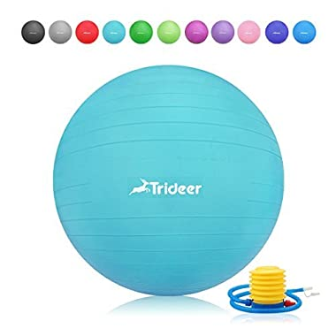 Trideer 45-85cm Exercise Ball, Birthing Ball, Yoga Pilate Fitness Balance Ball with Pump Plug Kit, Anti-Slip & Anti-Burst, 2000lbs Extra Thick Core Cross Training Ball (Turkis, 75Ccm)
