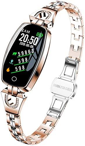 Reloj inteligente de las señoras impermeable IP68 fitness pulsera moda deportes metal pulsera para Android LOS-oro