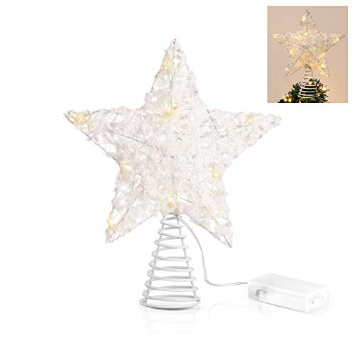 Unomor Christmas Star Tree Toppers, White Cotton Balls Metal Hallow Design with 15 LED Lights (Batteries not Included)