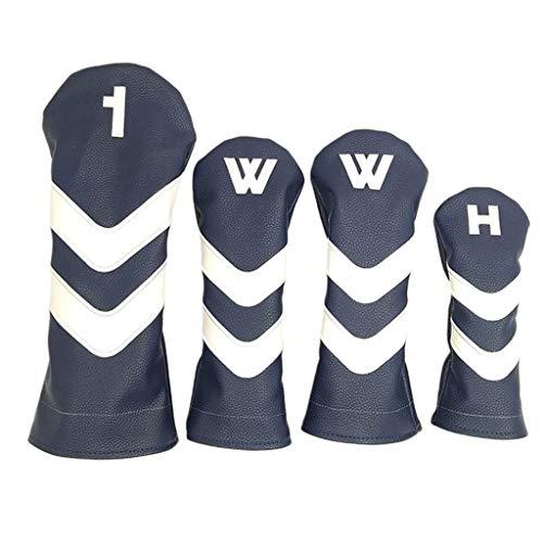 SDENSHI Golf Headcover Set, Driverkopfhüllen, Leder Holzkopfhüllen mit Plüschfutter, Golf Driverhaube für Holz Driver - Blau