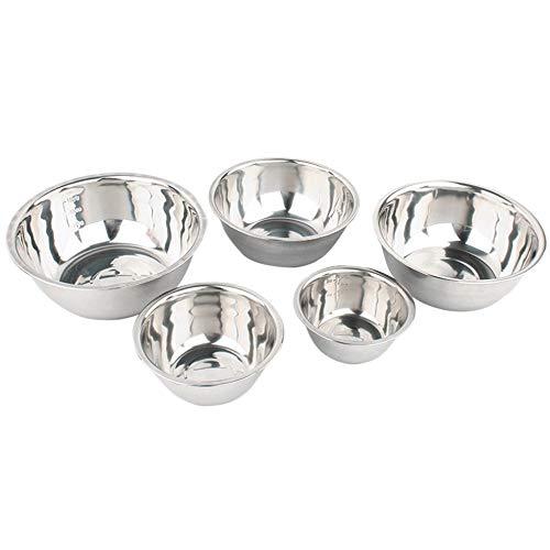 #N/V Juego de 5 cuencos de acero inoxidable antideslizantes para mezclar y hornear