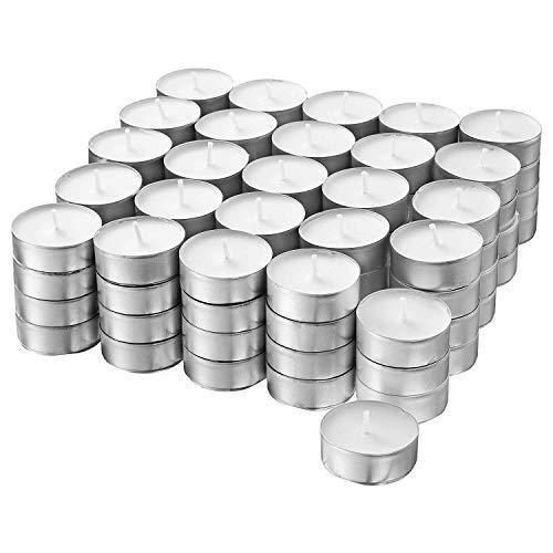 Ikea Glimma 3 velas de té sin perfume, color blanco, 100 unidades