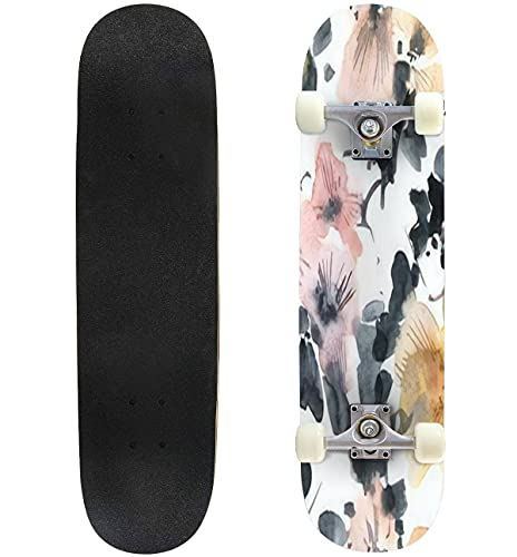 """Watercolor and Ink Illustration of Tree Branch in Bloom with Flowers Skateboard 31""""x8"""" Double-Warped Skateboards Outdoor Street Sports Skateboard for Beginners Professionals Cool Adult Teen Gifts"""