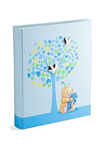 Mareli Álbum de fotos de nacimiento de niño 20 x 25 cm, diseño del árbol de la vida, color azul claro con plata