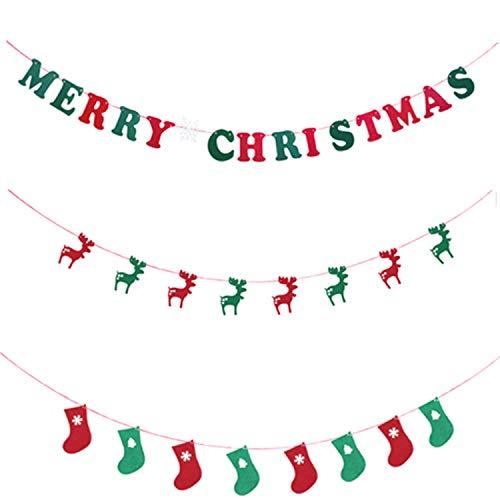 COSORO 3 Pack Frohe Weihnachten Banner-DIY Frohe Weihnachten Hirsch Strumpf Banner Flagge Hängenden Stoff Flagge Bunting Girlanden für Xmas Party Ornamente DIY Home Hotel Mall Yard Wanddekoration