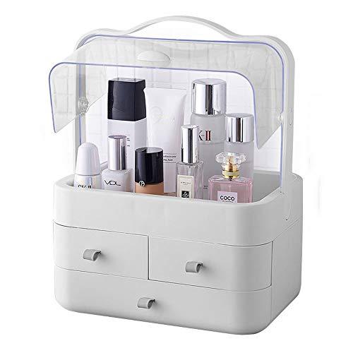 Threew Trucco da viaggio Trolley Caso cosmetico Cosmetic Bag Cosmetic Storage Box Trasparente Grande antipolvere e impermeabile Tavolo da toilette portatile Cura della pelle Rossetto Rack