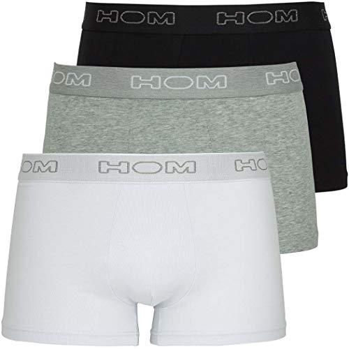 Hom - Boxer Briefs 'Boxerlines' pour Hommes - Lot de 3 - caleçons Boxeur - Grey Mel/White/Black - Taille S