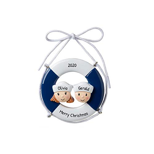 Personalized Cruise Ship Family of 2 Christmas Tree Ornament 2019 - Navy Hat Together Sail-Boat Summer Theme Travel Trip Tour Honeymoon Ocean Vacation Holiday Nautica Friend Year - Free Customization