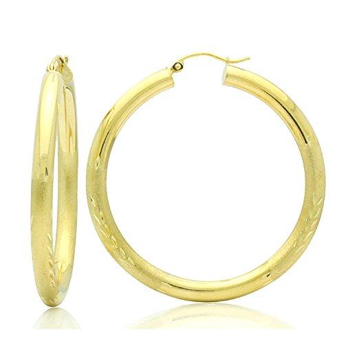 Little Treasures 14ct Oro Pendientes de aro 4mm x 1.8cubilete redondo Diamante & Satén Accents Oro Amarillo Pendientes De Aro