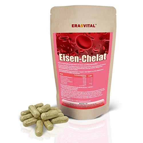 Eisen-Chelat (Bisglycinat) I 90 Kapseln = 69g I Vegan I hohe Bioverfügbarkeit I mit weiteren natürlichen