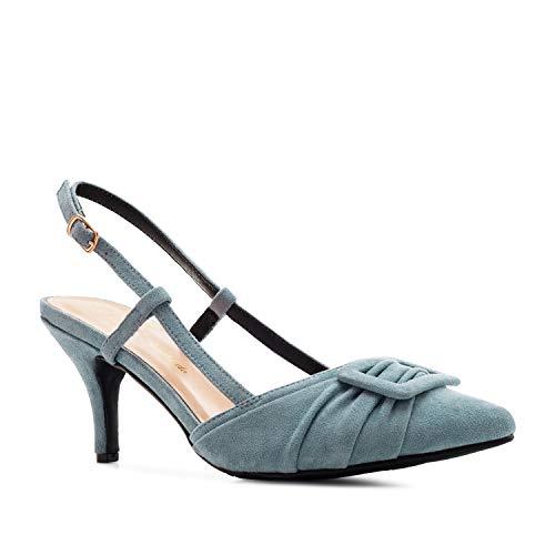 Elegante Slingback- Pumps für Damen und Junge Frauen aus blauem Velourslederimitat - ausgefallene Pumps/High Heels mit Absatz - AM5425 - EU 34