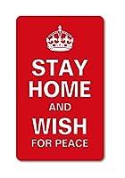 STAY HOME AND WISH FOR PEACE おうちにいよう コロナウィルス対策 自粛 GSJ092 ステッカー Lサイズ