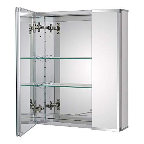 Fundin Armario de aluminio con espejo para empotrar o montaje en superficie,...