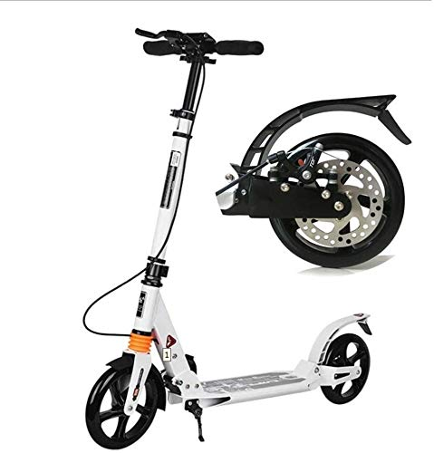 Scooter H- Patinete Kick Unisex Adult Kick 200mm Big Wheels, Scooters Plegables con Frenos De Disco, Soporte 150kg, No Eléctrico (Color : White)